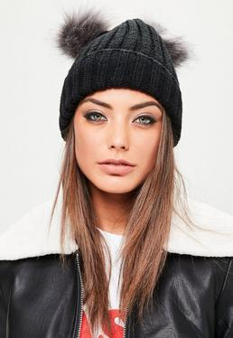 Black 2 Grey Pom Poms Beanie Hat
