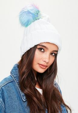 White Rainbow Pom Pom Beanie Hat