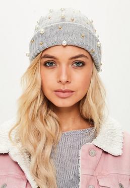 Grey Pearl Detail Beanie Hat