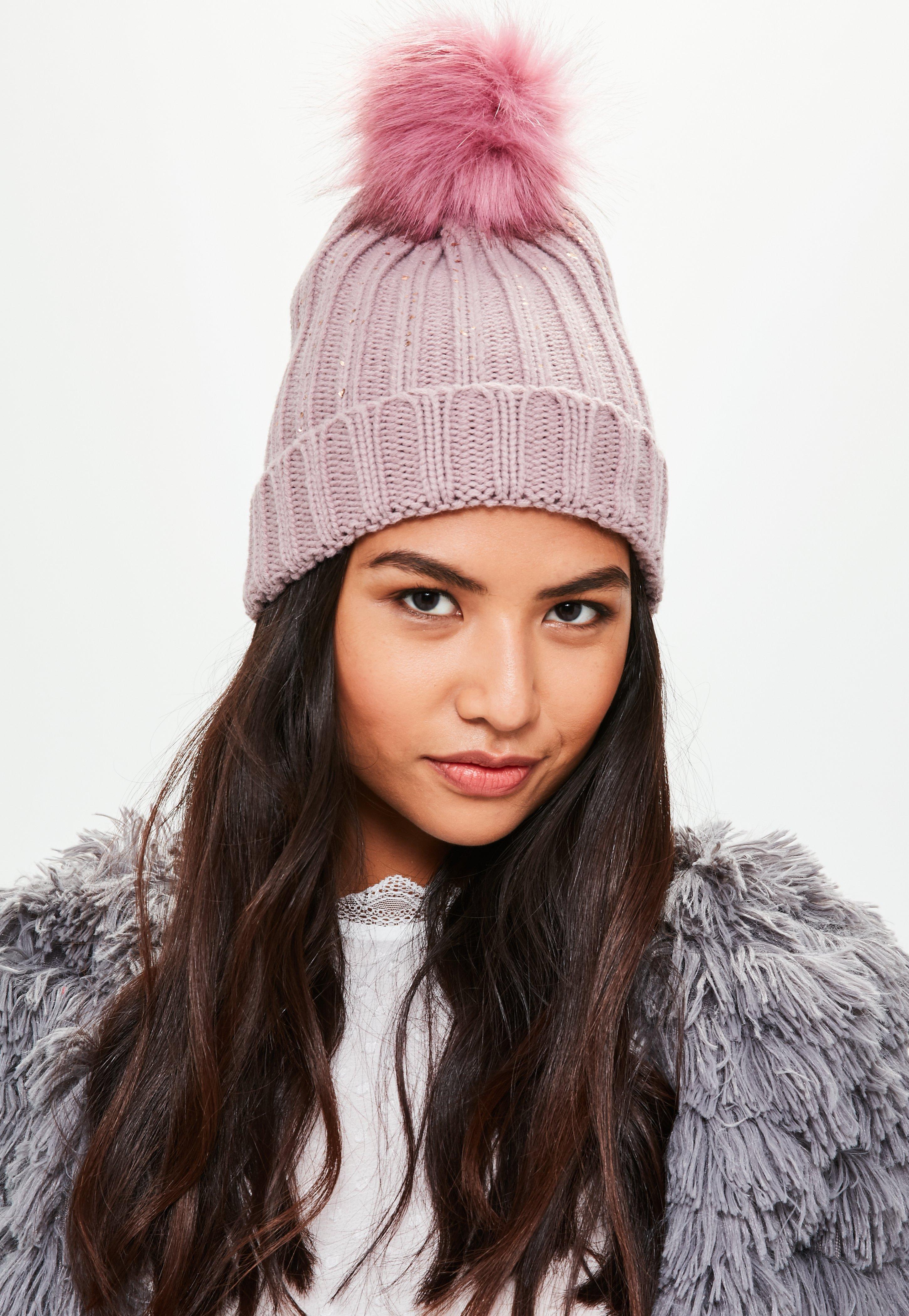 7f26eba60a7 Pink Metallic Knit Faux Fur Beanie