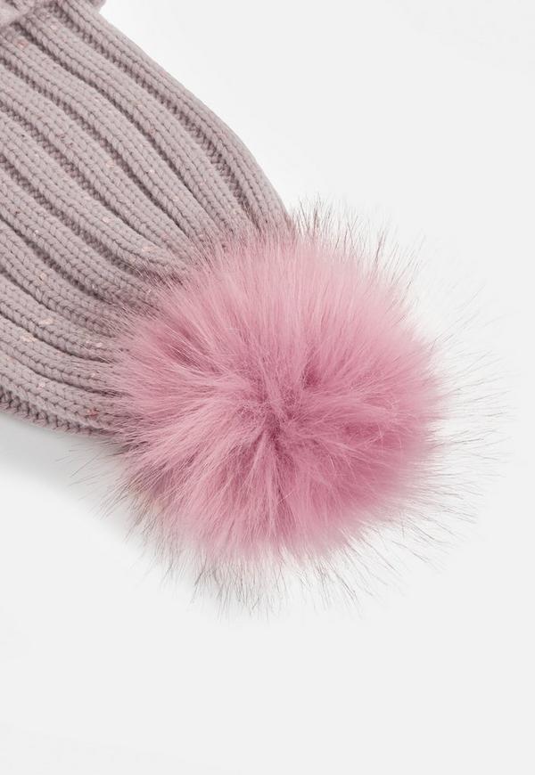 1265b9607e8 Pink Metallic Knit Faux Fur Beanie. 18
