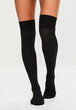 Pretty Polly Black Ribbed Hold Up Socks