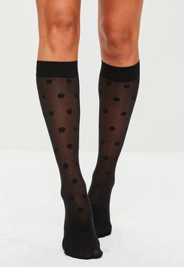 Pretty Polly Black Patterned Calf Socks