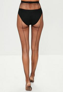 Black Fishnet Tights with Back Seam
