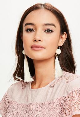 Cream Pom Pom Tassel Earrings