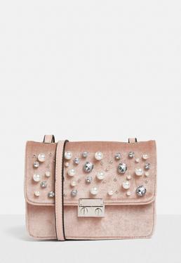 Pink Embellished Velvet Cross Body Bag
