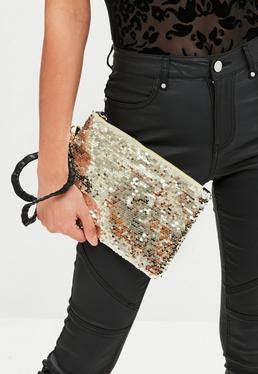 Gold Zip Top Sequin Clutch Bag