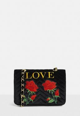 Black Embroidered Cross Body Bag