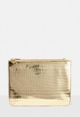 Gold Croc Pattern Patent Clutch Bag