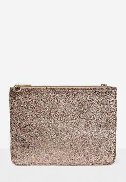 Glitter Zip Top Clutch Bag