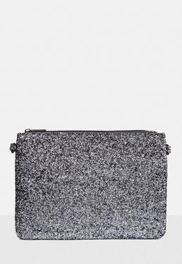 Silver Glitter Zip Top Clutch Bag