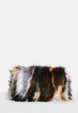 Multi Faux Fur Clutch Bag