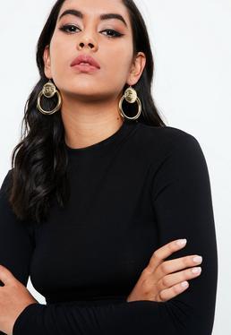 Gold Geo Coin Hoop Earrings