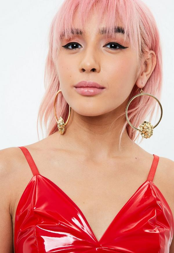 Gold Lion Head Hoop Earrings by Missguided