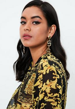 Gold Geo Drop Earrings