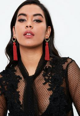 Red Mini Hoop Tassel Earrings