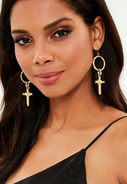 Gold Hoop Cross Drop Earrings