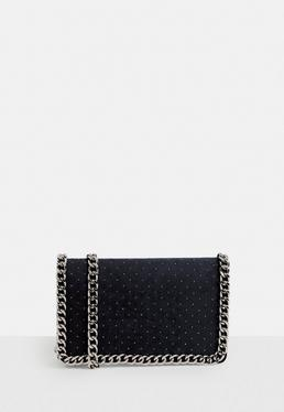Black Chain Trim Cross Body Bag