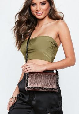 Bronze Metallic Chain Textured Cross Body Bag