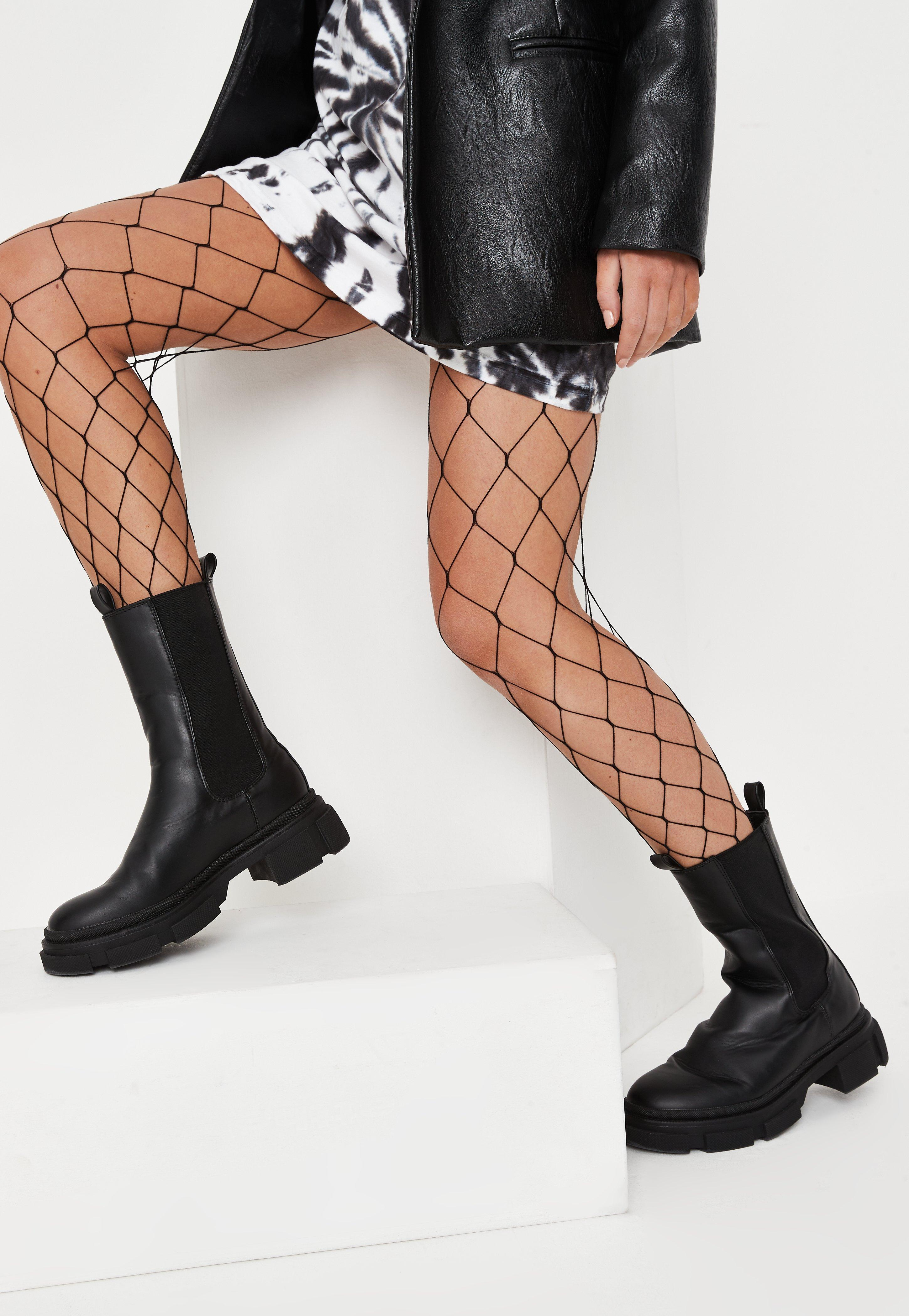 2128a27bf48 Black Oversized High Waist Fishnet Tights