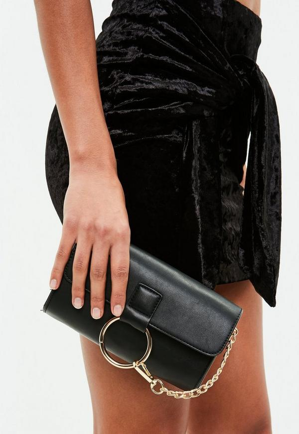 Black Ring Detail Clutch Bag Missguided