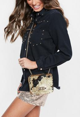 Gold Sequin Cross Body Bag