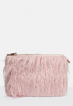 Pink Faux Mongolian Fur Clutch Bag