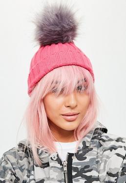 Pink Pom Pom Beanie