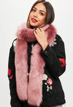 Pink Faux Fur Long Shawl