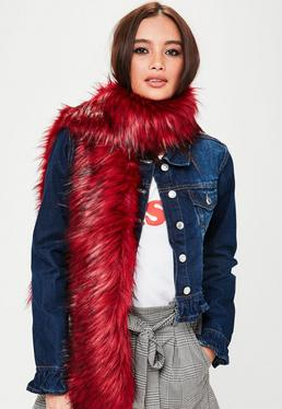 Red Faux Fur Scarf