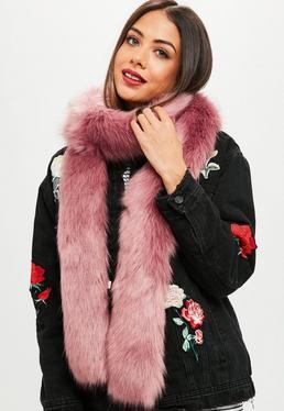 Bufanda de pelo sintético en rosa