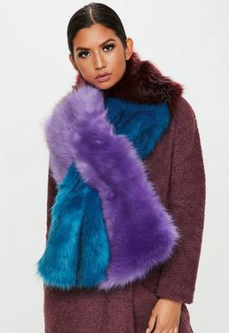 Blue colour Block Faux Fur Shawl