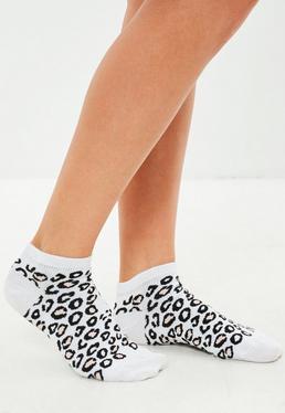 Leopard Print Trainer Socks