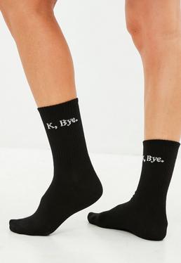 Black Slogan K Bye Socks