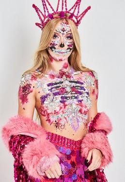 The Gypsy Shrine brillantes adhesivos candy skull en rojo