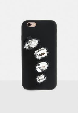 Czarna obudowa na telefon Iphone 6 z pierścionkami z diamencikami