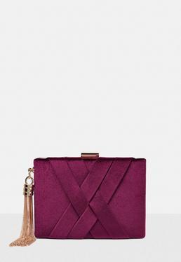 Burgundy Velvet Cross Box Clutch Bag