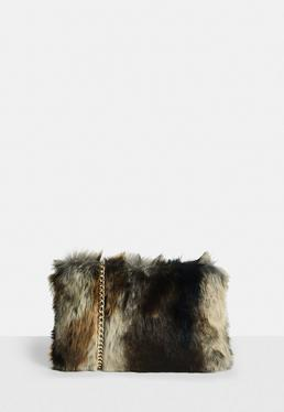 Brown Faux Fur Cross Body Bag