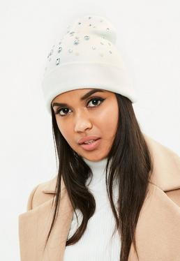 White Gem and Pearl Embellished Beanie Hat