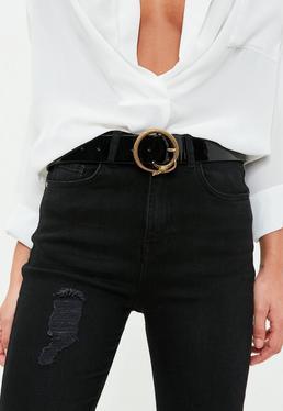 Cinturón de cuero sintético con hebilla de serpiente en negro