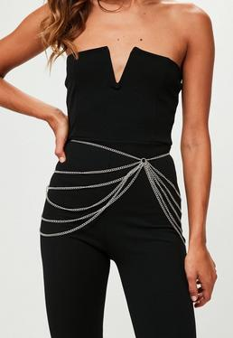 Silver Layered Chain Belt