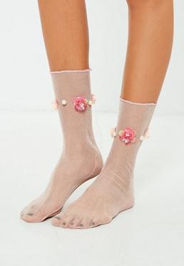Nude Mesh Floral Socks