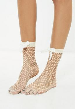 Nude Bow Fishnet Socks