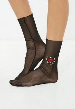 Black Floral Pearl Mesh Socks