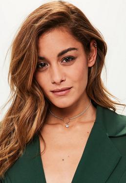 Gold Circle Diamante Choker Necklace