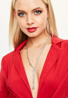 Gold Tassel Lariat Necklace