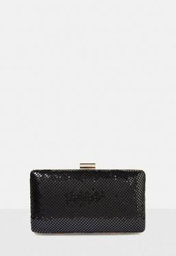 Black Chainmail Box Clutch Bag