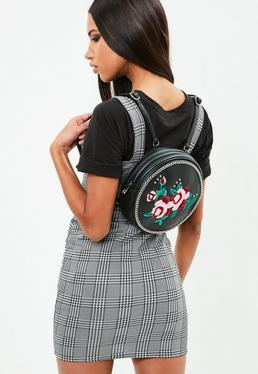 Black Round Floral Embroidered Backpack