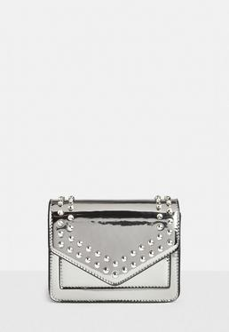 Silver Holographic Mini Clutch Bag