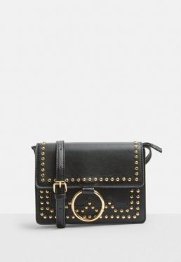 Black Faux Leather Gold Stud Ring Cross Body Bag